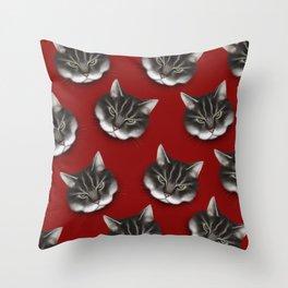 sinister kitty Throw Pillow