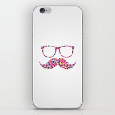 Funny Girly Pink Abstract Mustache Hipster Glasses iPhone & iPod Skin