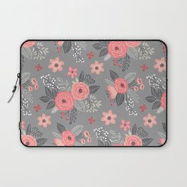 Vintage Antique Floral Flowers on Grey Laptop Sleeve