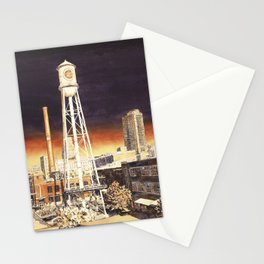 Watercolor painting of  water tower on the American Tobacco Campus in downtown Durham, NC at sunset Stationery Cards
