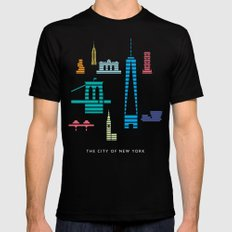 New York Skyline One WTC Poster Pastel MEDIUM Mens Fitted Tee Black