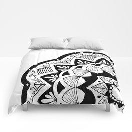 Moroccan black mandala on white Comforters