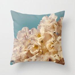Vintage Aqua Sakura Throw Pillow