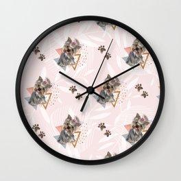 Pattern dog & triangles Wall Clock