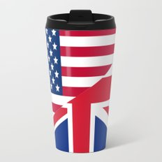 American and Union Jack Flag Metal Travel Mug