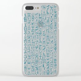 Hieroglyphics Moonstone BLUE / Ancient Egyptian hieroglyphics pattern Clear iPhone Case