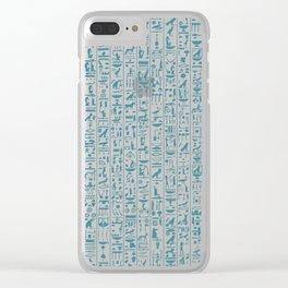 Hieroglyphics Moonstone BLUE / Ancient Egyptian hieroglyphics pattern Clear iPhone Case