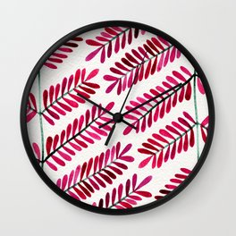 Pink Leaflets Wall Clock
