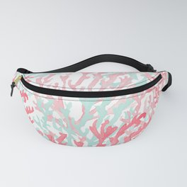 Modern hand painted coral pink teal reef coral floral Fanny Pack