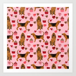 Bloodhounds cupcakes valentines day gifts dog lover pet friendly hearts dog breed Art Print