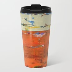 Roadrunner Bright Orange Abstract Colorful Art Painting Metal Travel Mug