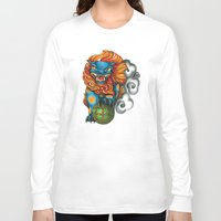foo fighters Long Sleeve T-shirts featuring Foo Dog by missfortunetattoo