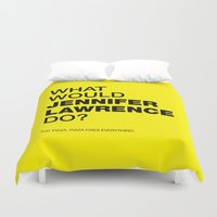 jennifer lawrence Duvet Covers featuring What would Jennifer Lawrence do? by Celebgate