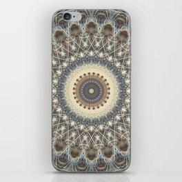 Mandala in white and brown tones iPhone Skin