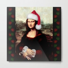 Mona Lisa Wearing a Santa Hat Metal Print