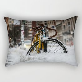Bike stuck in snow Rectangular Pillow