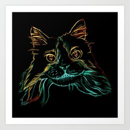Fluffy Tuxedo Kitty Art Print