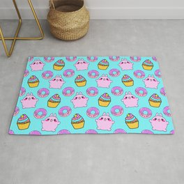 Cute funny Kawaii chibi pink little playful baby bunnies, happy sweet donuts and adorable colorful yummy cupcakes light bright pastel blue seamless pattern design. Rug