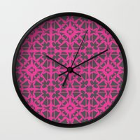 gray pattern Wall Clocks featuring Magenta Gray pattern by xiari