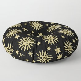 Mid Century Modern Sun and Star Pattern Black and Gold Floor Pillow