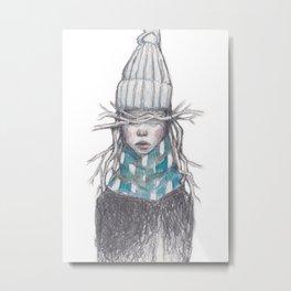 Winter Girl (Blue) Metal Print