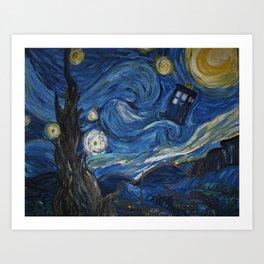 A Starry Night In The TARDIS Art Print