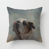 bulldog Throw Pillows featuring Bulldog by Mary Kilbreath