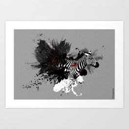African Zebra Burst Art Print