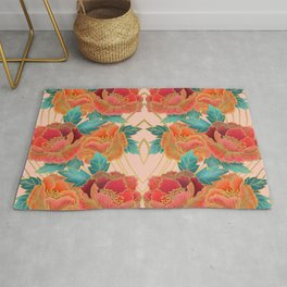 Pink Peonies Pattern with Gold Waves Rug