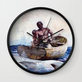 12,000pixel-500dpi - Winslow Homer1 - Shark Fishing,1885 - Digital Remastered Edition Wall Clock