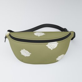 Round Bunny Pattern Cream Green Fanny Pack
