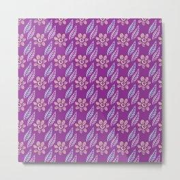 Flowers and Leaves (Purple) Metal Print