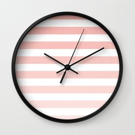 Pink and White Ombre Stripe Wall Clock
