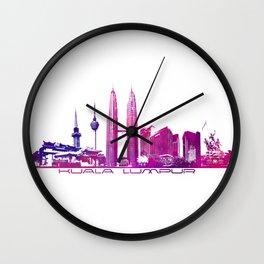 Kuala Lumpur skyline purple Wall Clock