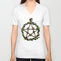 pentagram V-neck T-shirts featuring PENTAGRAM GARLAND by Dianah B
