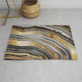 Black and Gold Geode rock Rug
