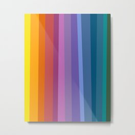Modern Bright Rainbow Abstract Stripes Metal Print