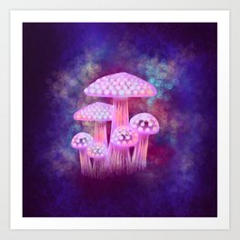 Pink Glowing Mushrooms Art Print