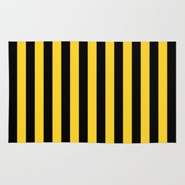 Yellow and Black Honey Bee Vertical Beach Hut Stripes Rug