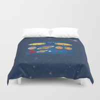 sagan Duvet Covers featuring In consideration of the shoulders of giants.  by anipani