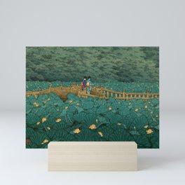 Vintage Japanese Woodblock Print Kawase Hasui Japanese Children Lotus Flowers Garden Wooden Bridge Mini Art Print