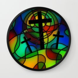 Calvary Stained Glass Window Wall Clock