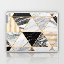 Marble Triangles 2 - Black and White Laptop & iPad Skin
