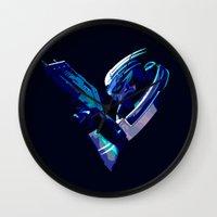 garrus Wall Clocks featuring Mass Effect: Garrus Vakarian by Fiona Ng