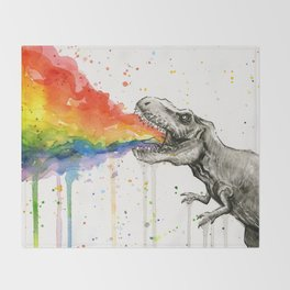 T-Rex Rainbow Puke Throw Blanket