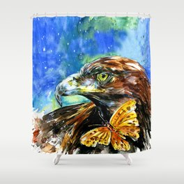 Golden Eagle And Butterfly by Kathy Morton Stanion Shower Curtain