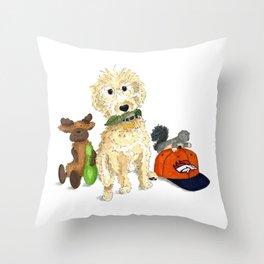Manning the Dog Throw Pillow