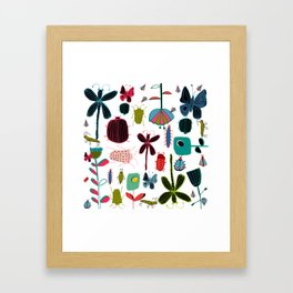 Insect watercolor white Framed Art Print