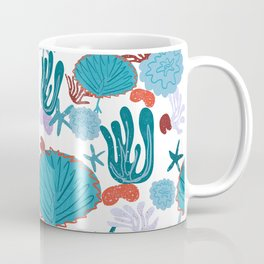 Cute Vibrant Coral Cluster Pattern in Blue Coffee Mug