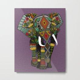 floral elephant violet Metal Print